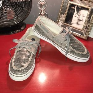 Sperry Top Sider Bahama Pewter Silver Shoes